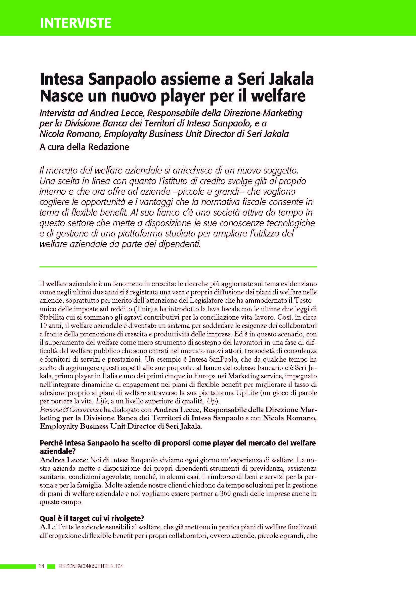 Intesa Sanpaolo assieme a Seri Jakala nasce un nuovo player per il welfare